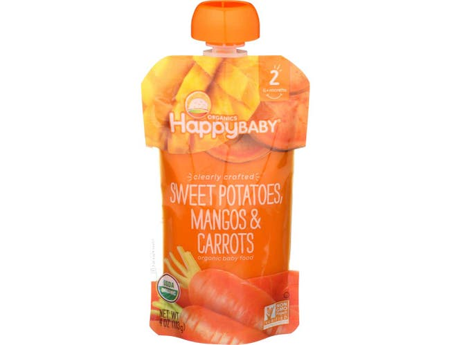 Happy Baby Clearly Crafted Organic Stage 2 Sweet Potatoes Mangos and Carrots Baby Food, 4 Ounce -- 16 per case.