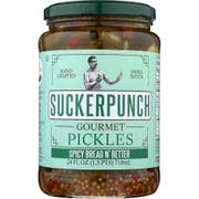 SuckerPunch Spicy Bread N Better Pickles, 24 Fluid Ounce -- 6 per case.