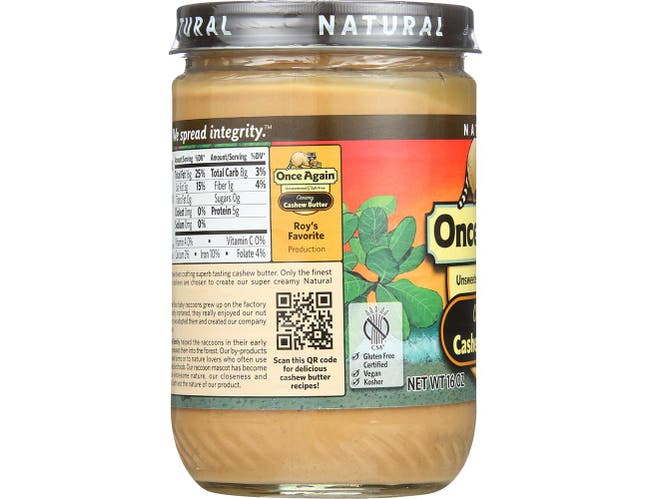 Once Again Natural Creamy Cashew Butter, 16 Ounce -- 12 per case.