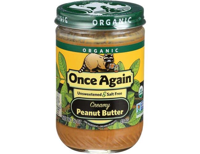 Once Again Organic No Salt Creamy Peanut Butter, 16 Ounce -- 12 per case.
