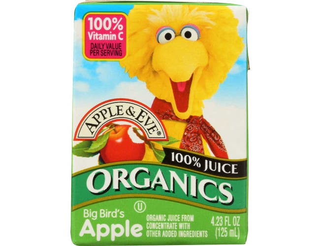Apple and Eve Organic Sesame Street Big Birds Apple Juice, 125 Milliliter -- 36 per case.