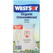 WestSoy Unsweetened Organic Original Soymilk, 64 Ounce -- 8 per case.