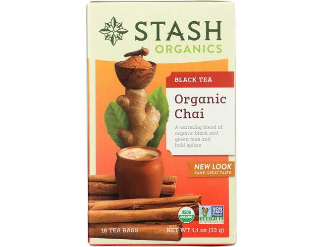 Stash Tea Organic Black and Green Chai Tea -- 6 per case.