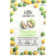 Little Secrets Toasted Coconut Dark Chocolate Candies, 5 Ounce -- 8 per case.