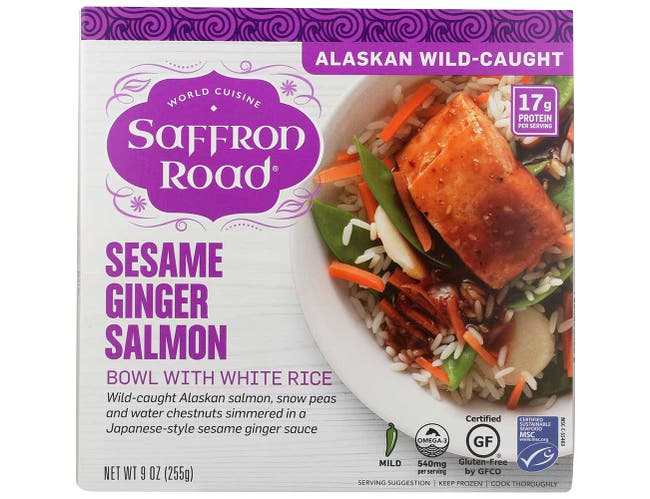 Saffron Road Sesame Ginger Salmon Fish Bowl, 9 Ounce -- 8 per case.