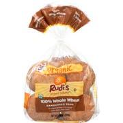 Rudis Organic 100 Percent Whole Wheat Hamburger Bun -- 7 pack per case.