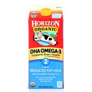 Horizon Organic 2 Percent Reduced Fat Milk with DHA Omega 3, 0.5 gallon -- 6 per case