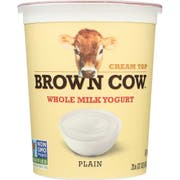 Brown Cow West Plain Smooth and Creamy Cream Top Whole Milk Yogurt, 32 Ounce -- 6 per case.
