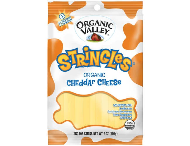 Organic Valley Organic Stringles Pasteurized Cheddar Cheese, 6 Ounce -- 12 per case