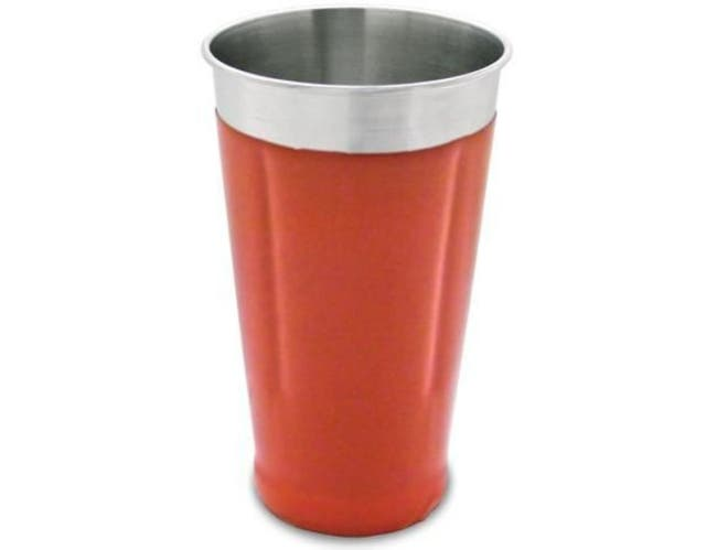 Co-Rect Stainless Steel with Red Vinyl Coating Malt Cup, 6.875 x 4 x 4 inch -- 48 per case.