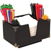 Co-Rect Black Wood Bar Caddy with Decorative Metal Corner Bracket, 9.25 x 6.25 x 5.5 inch -- 12 per case.