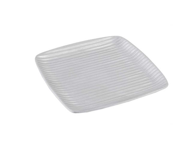 Black Bon Chef Sandstone Asian Fusion Square Ribbed Platter, 12 1/2 x 12 1/2 inch -- 2 per case.