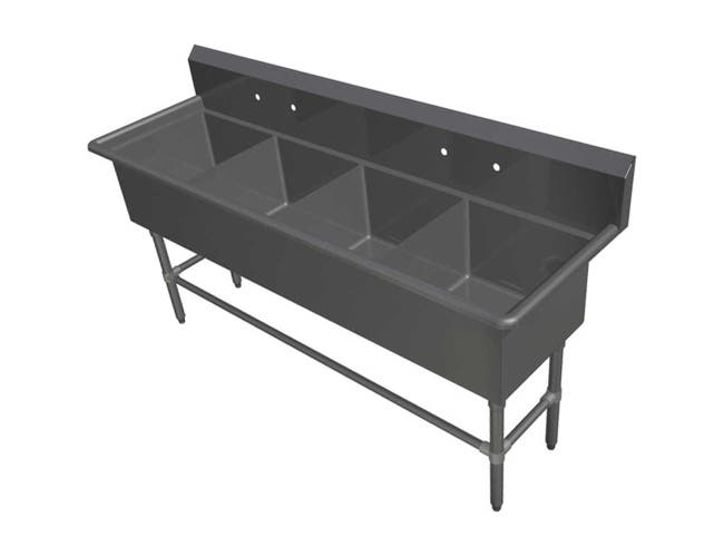 John Boos 16 Gauge Stainless Steel Four Bowl Sink without Drainboard, 77 1/8 x 29 1/2 inch -- 1 each.