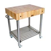 John Boos Cream Finish Cucina D Amico Hard Maple Top Cart, 30 x 24 x 5 inch -- 1 each.