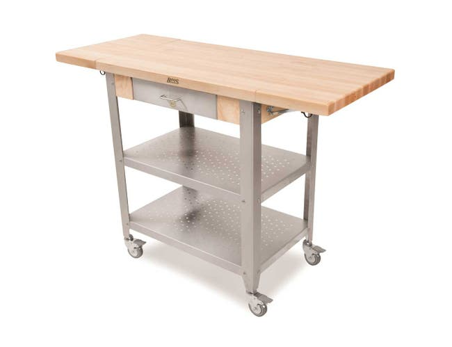 John Boos Maple Varnique Finish Cucina Elegante Cart with 10 inch Two Drop Leaves, 30.75 x 20 x 1 1/2 inch -- 1 each.