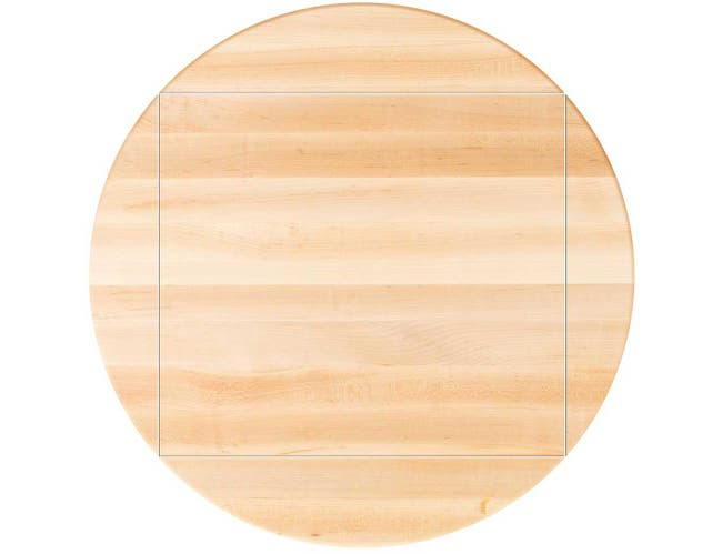 John Boos Tuff Var Finish Four Corner Drop Leaf Soft Maple Butcher Block Top, 48 inch Dia -- 1 each.