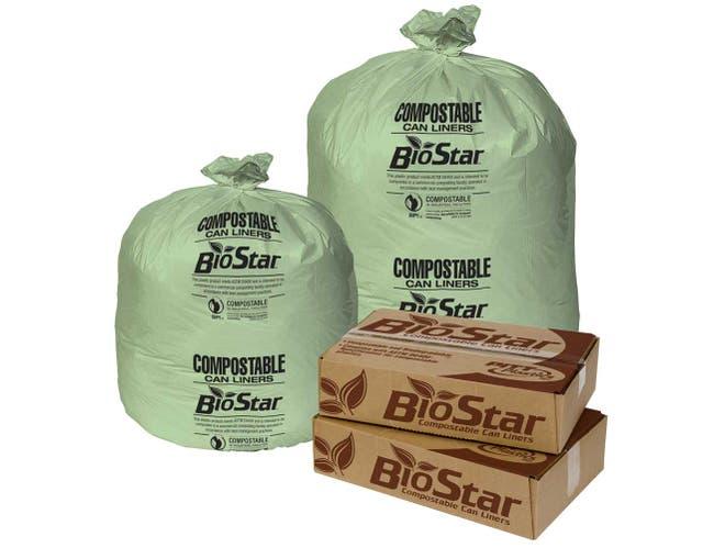 Pitt Plastics Bio Star Extra Heavy 1 Mil Liner Green Compostable Can Liner 38 X 58 -- 100 per case.
