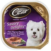 Cesar Canine Cuisine Savory Delights Filet Mignon Flavor with Bacon and Potato in Meaty Juices Dog Food, 3.5 Ounce -- 24 per case.