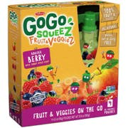 Gogo Squeez Apple Carrot Mixed Berries 12.8 Ounce Fruit and Veggies, 4 count per pack -- 12 per case.