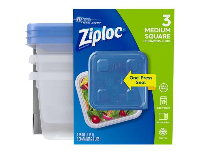 Ziploc Medium Square One Press Container, 3 count per pack -- 6 per case.