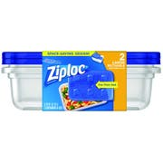 Ziploc Large Rectangle One Press Food Storage Container, 2 count per pack -- 6 per case.