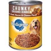 Pedigree Meaty Ground Dinner with Chunky Beef Bacon and Cheese Dog Food, 13.2 Ounce -- 12 per case.