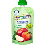 Gerber Grabbers Apple Peach and Spinach Baby Food, 6 count per pack -- 12 per case.