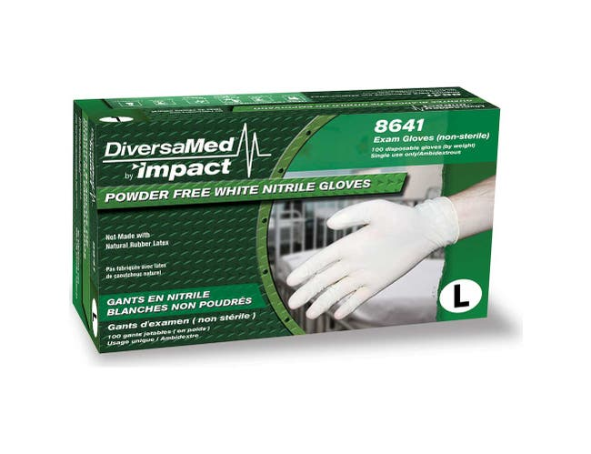 Impact Products Diversamed Large Disposable White Powder Free Nitrile Exam Glove -- 1 each.