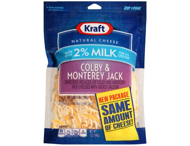 Kraft Zip Pak Natural Shredded Colby and Monterey Jack Cheese, 7 Ounce -- 12 per case.