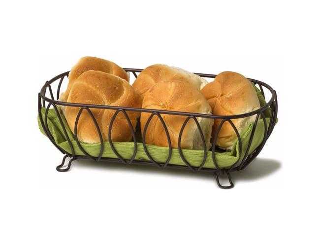 Spectrum Leaf Bronze Bread Basket, 4 x 6.75 x 12.25 inch -- 1 each.