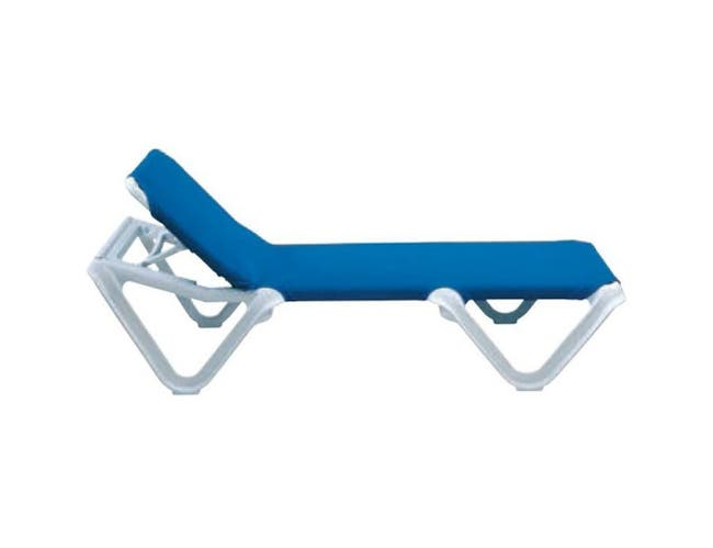 Grosfillex Nautical White Frame Adjustable Blue Sling Chaise -- 2 per case.