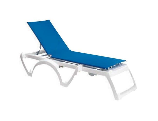 Grosfillex Calypso White Frame Adjustable Blue Sling Chaise -- 2 per case.