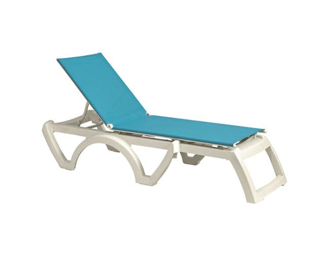 Grosfillex Calypso White Frame Adjustable Turquoise Sling Chaise -- 2 per case.