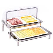Smart Domino Double Cold Display with Acrylic Domed Cover and Trays, 27 x 25.5 x 22 inch -- 1 each.