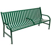 Witt Industries Green Oakley Slatted Metal Outdoor Bench with Arm, 72 x 34 x 24 inch -- 1 each.