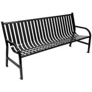 Witt Industries Black Oakley Slatted Metal Outdoor Bench, 72 x 34 x 24 inch -- 1 each.