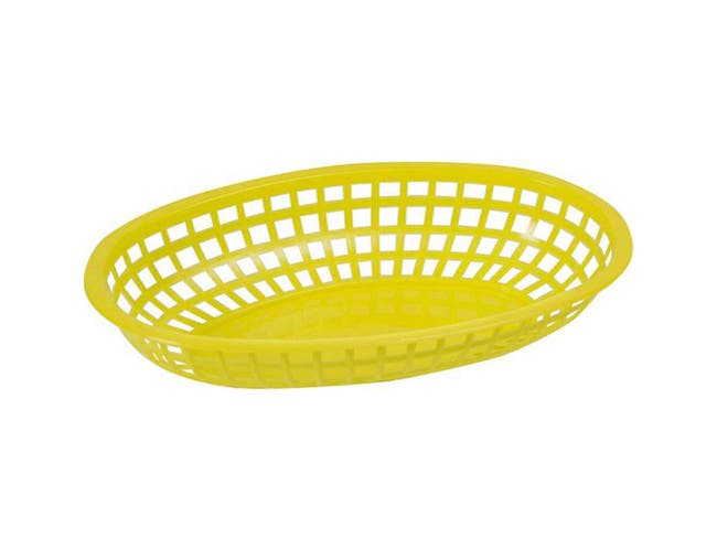 Winco Yellow Oval Fast Food Basket, 10 1/4 x 6 3/4 x 2 inch -- 3 per case.