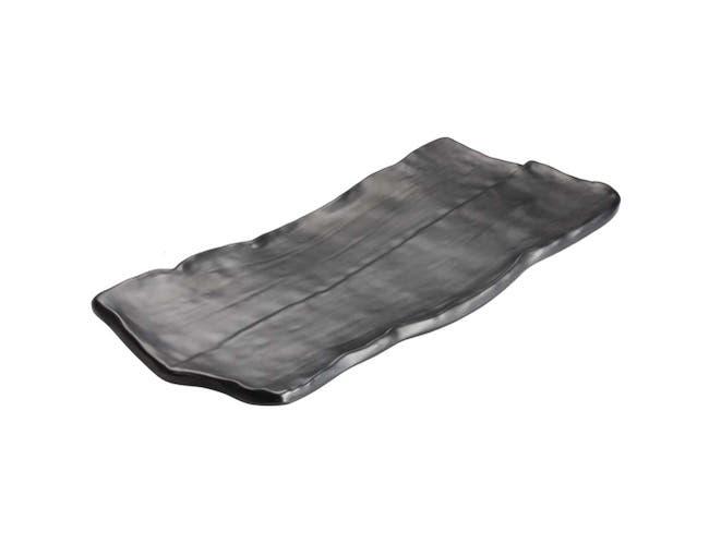Winco Ardesia Kaori Melamine Black Rectangular Platter, 14 1/2 x 6 3/8 inch -- 12 per case.
