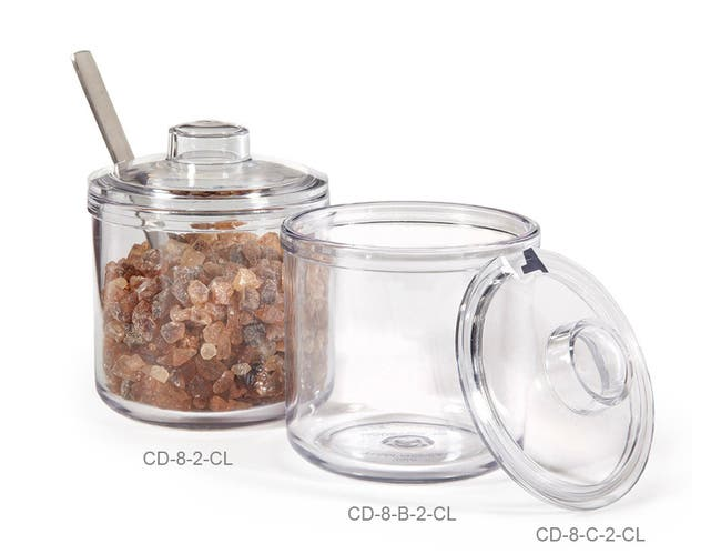 GET Enterprises inc Styrene Acrylonitrile Clear Condiment Jar and Cover, 8 Ounce -- 24 per case.