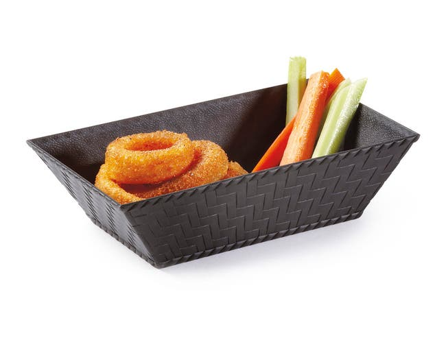 GET Enterprises inc Polypropylene Black Rectangular Textured Basket, 8 x 4.5 inch -- 12 per case.
