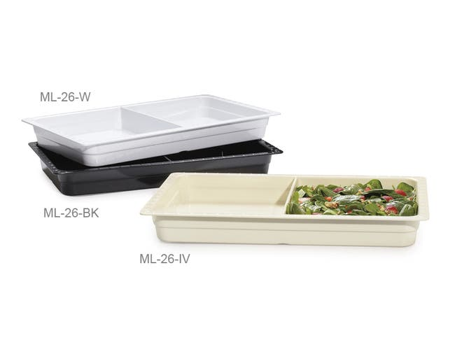 GET Enterprises inc Melamine Full Size Divided Two Compartment Insert Food Pan, 13 x 21 inch -- 1 per case