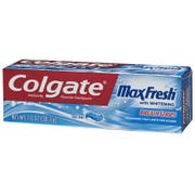 Colgate Max Fresh Cool Mint Whitening Toothpaste with Mini Breath Strips, 1 Ounce -- 24 per case.