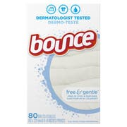 Bounce Free and Gentle Fabric Softener Dryer Sheet, 80 count per pack -- 9 per case.