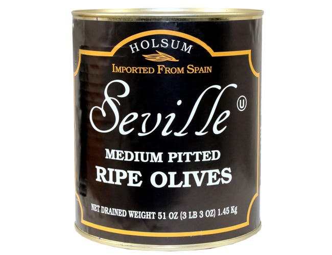 Seville Pitted Medium Ripe Olive, Number 10 Can -- 6 per case.