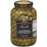Seville 150/160 Stuffed Green Queen Olives, 1 Gallon -- 4 per case.