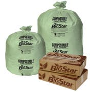 Pitt Plastics Bio Star Extra Heavy 1 Mil Liner Green Compostable Can Liner 33x39 -- 100 per case.