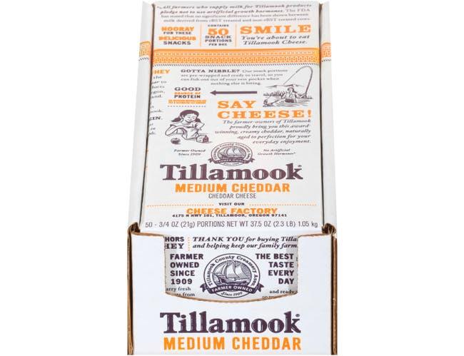 Tillamook Medium Portions Cheddar Cheese, 0.75 Ounce -- 100 per case.