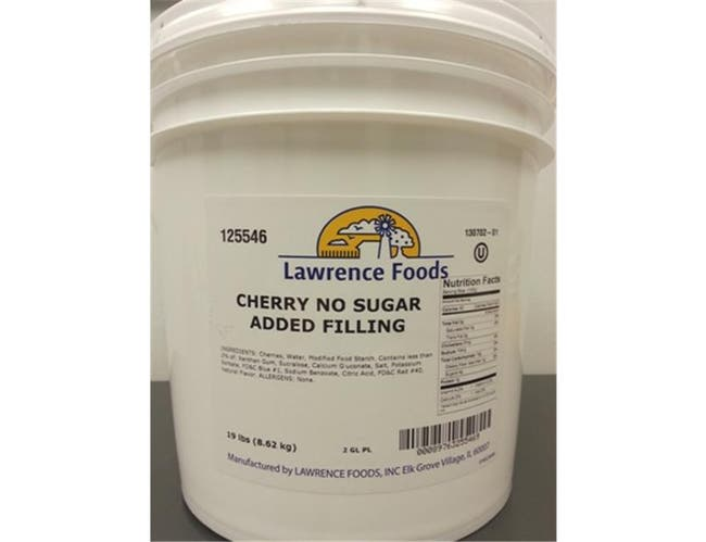 Lawrence Foods Cherry No Sugar Added Filling, 2 Gallon Pail -- 1 each.