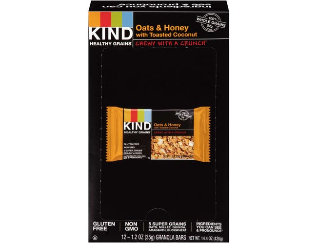 KIND Healthy Grains Bar, Oats and Honey with Toasted Coconut, 1.2 oz, 12/Box