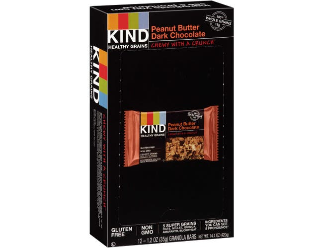 KIND Healthy Grains Bar, Peanut Butter Dark Chocolate, 1.2 oz, 12/Box